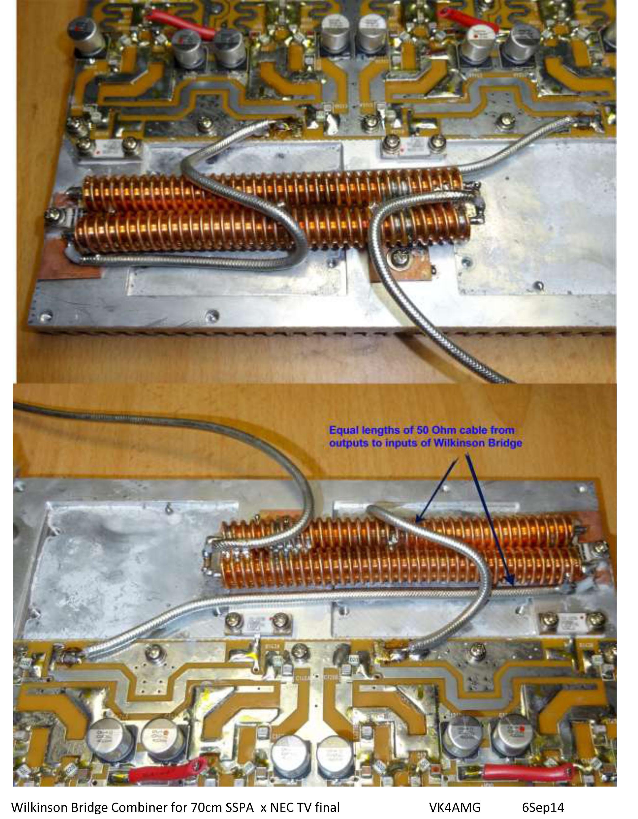 Wilkinson Bridge Combiner for 70cm SSPA  x NEC TV finalVK4AMG6Sep14